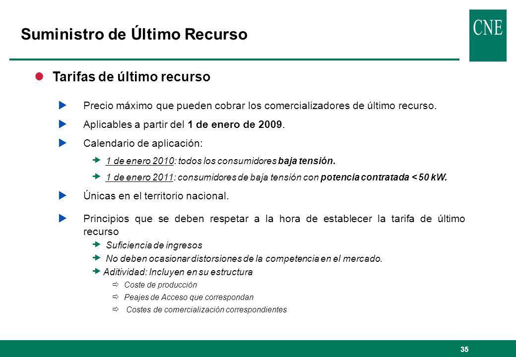 35 lTarifas de último recurso Precio máximo que pueden cobrar los comercializadores de último recurso. Aplicables a partir del 1 de enero de 2009. Cal
