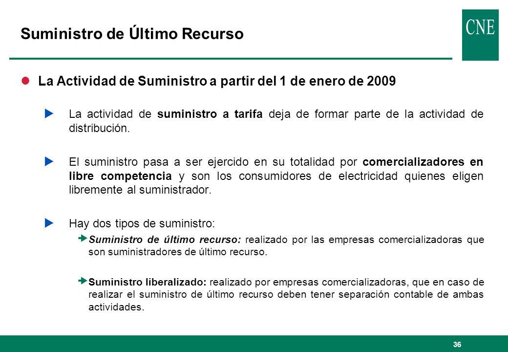 36 Suministro de Último Recurso lLa Actividad de Suministro a partir del 1 de enero de 2009 La actividad de suministro a tarifa deja de formar parte d
