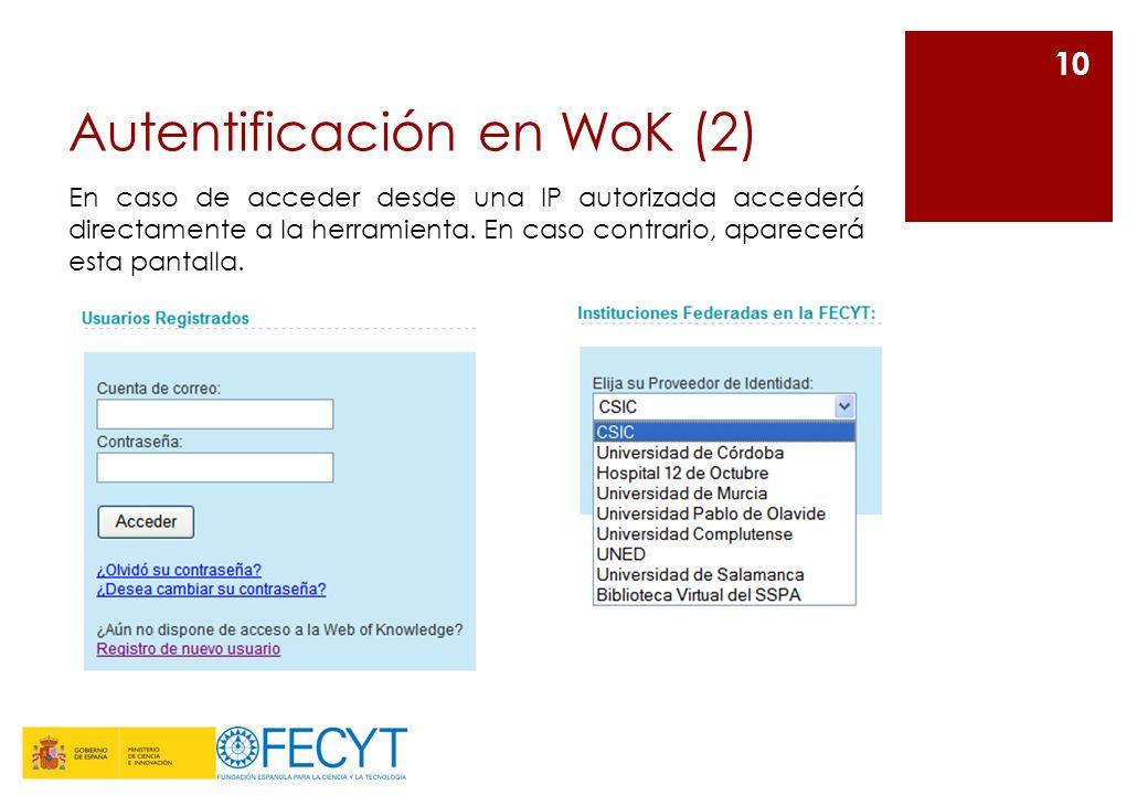 Autentificación en WoK (2) 10 En caso de acceder desde una IP autorizada accederá directamente a la herramienta. En caso contrario, aparecerá esta pan