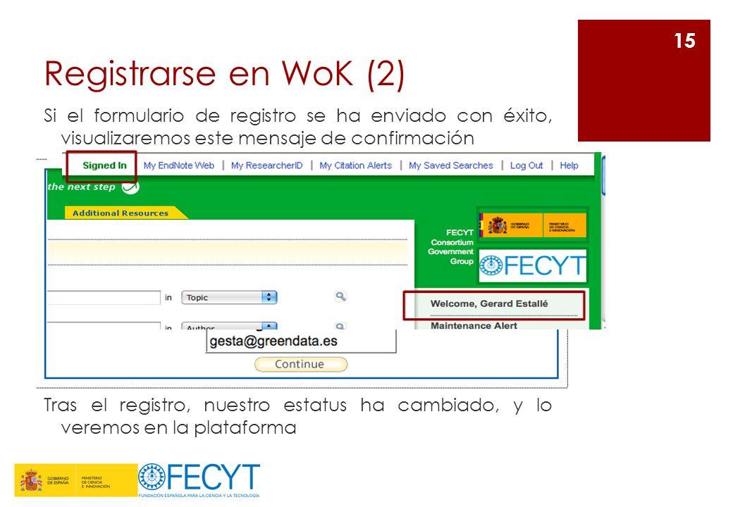 Registrarse en WoK (2) Si el formulario de registro se ha enviado con éxito, visualizaremos este mensaje de confirmación 15 Tras el registro, nuestro