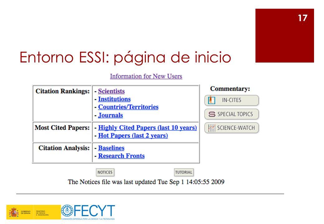 Entorno ESSI: página de inicio 17