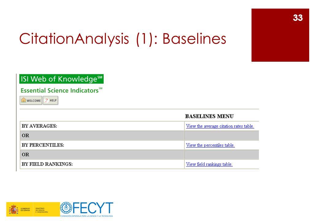 CitationAnalysis (2): Baselines El menú de Baselines permite el acceso a las siguientes tablas: -Average citationrates (tasas medias de citas): calculadas para cada año de los 10 incluidos en ESSI.