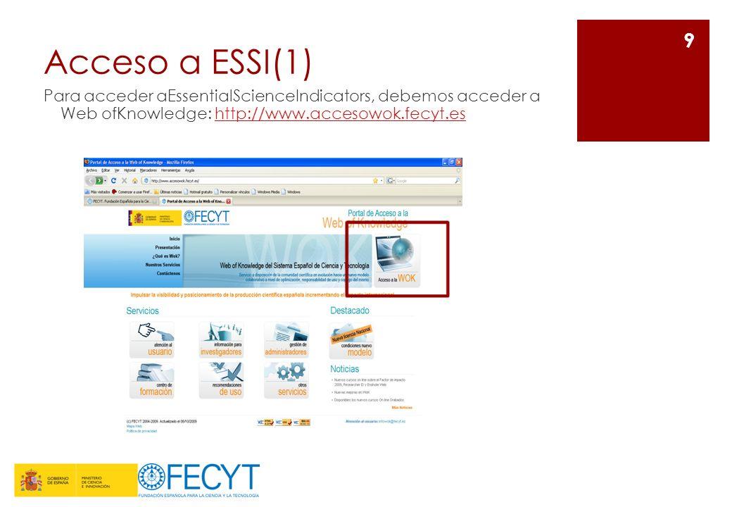 Acceso a ESSI(1) Para acceder aEssentialScienceIndicators, debemos acceder a Web ofKnowledge: http://www.accesowok.fecyt.eshttp://www.accesowok.fecyt.