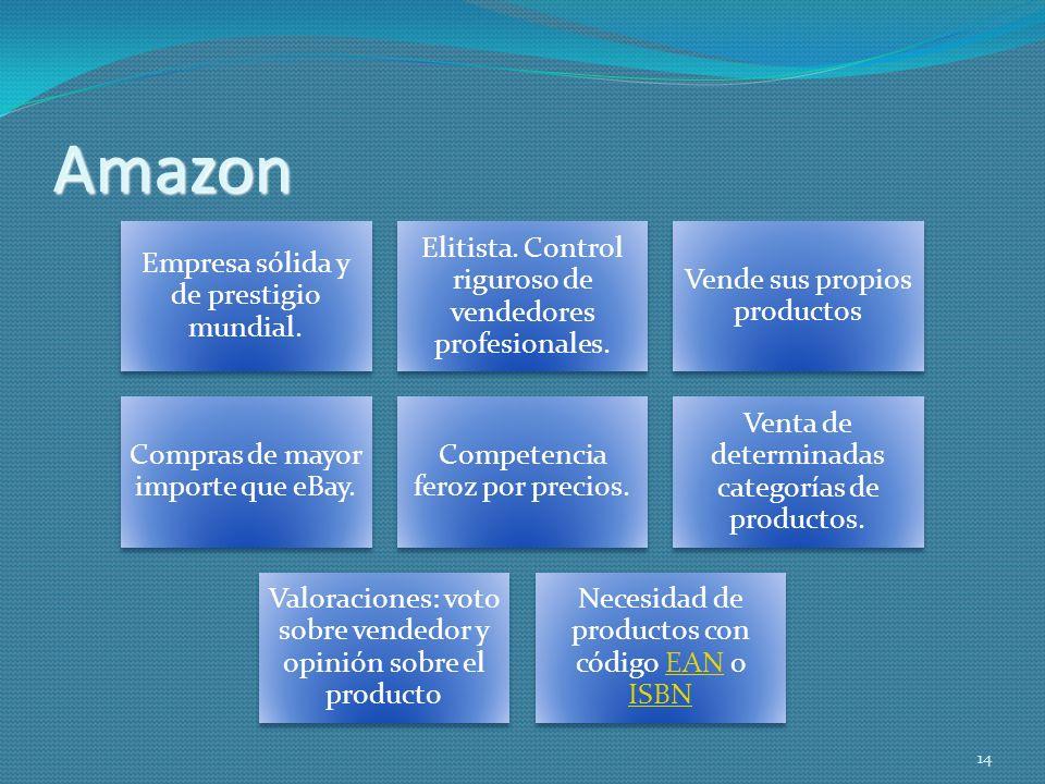 Amazon Empresa sólida y de prestigio mundial. Elitista. Control riguroso de vendedores profesionales. Vende sus propios productos Compras de mayor imp