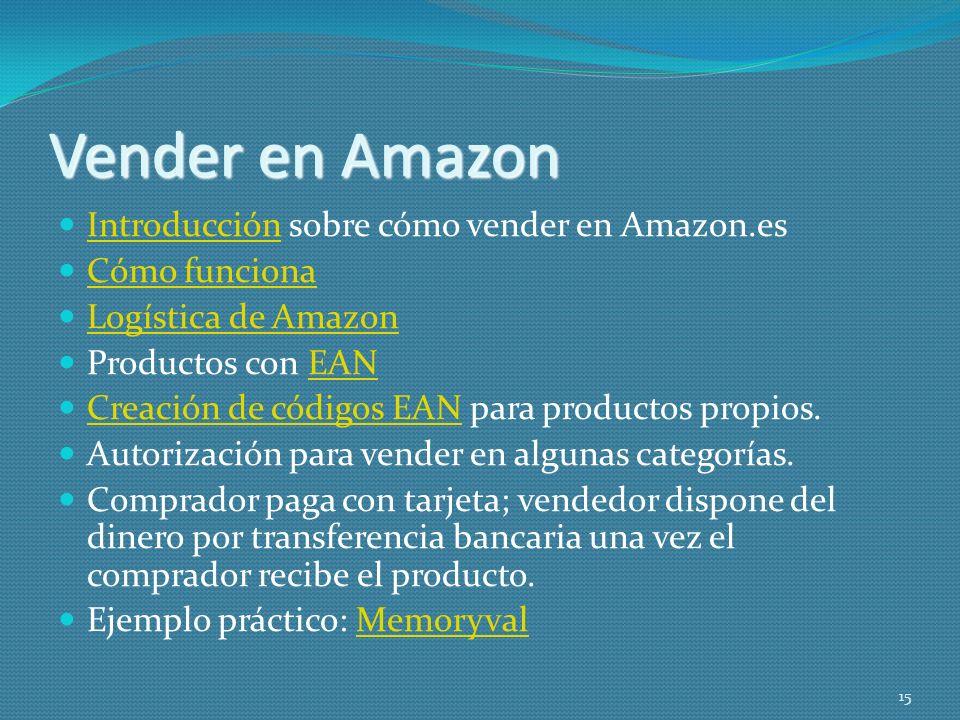 Vender en Amazon Introducción sobre cómo vender en Amazon.es Introducción Cómo funciona Logística de Amazon Productos con EANEAN Creación de códigos E