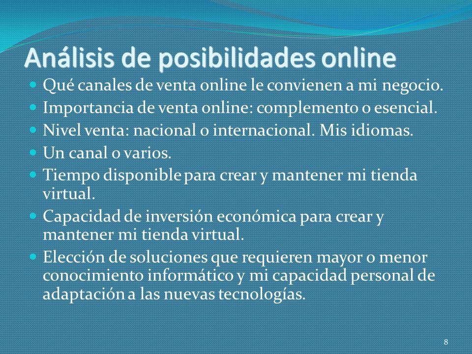 Análisis de posibilidades online Qué canales de venta online le convienen a mi negocio. Importancia de venta online: complemento o esencial. Nivel ven