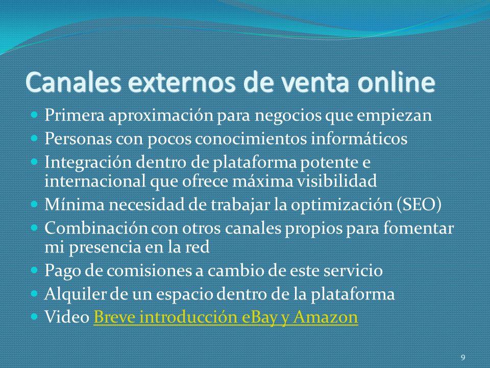Canales externos de venta online Primera aproximación para negocios que empiezan Personas con pocos conocimientos informáticos Integración dentro de p