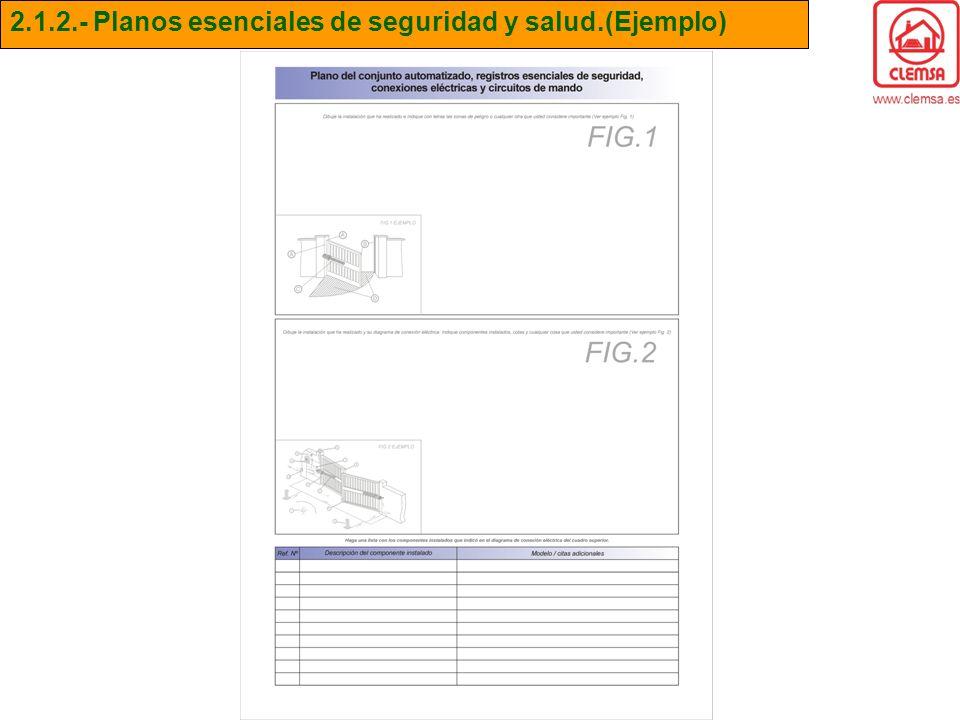 2.1.2.- Planos esenciales de seguridad y salud.(Ejemplo)