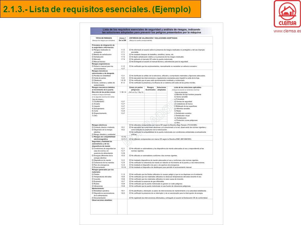 2.1.3.- Lista de requisitos esenciales. (Ejemplo)