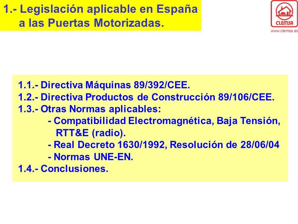 1.- Legislación aplicable en España a las Puertas Motorizadas. 1.1.- Directiva Máquinas 89/392/CEE. 1.2.- Directiva Productos de Construcción 89/106/C