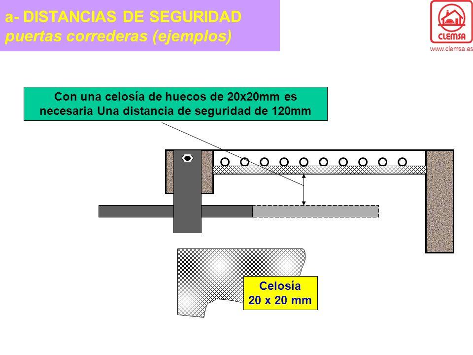 Con una celosía de huecos de 20x20mm es necesaria Una distancia de seguridad de 120mm Celosía 20 x 20 mm a- DISTANCIAS DE SEGURIDAD puertas correderas