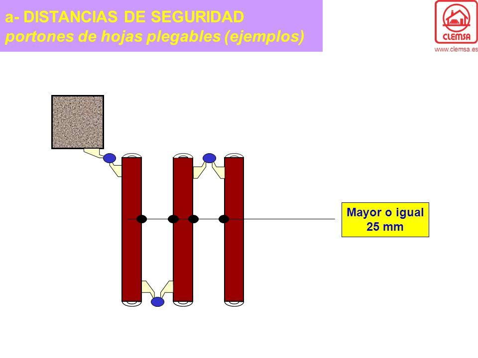 a- DISTANCIAS DE SEGURIDAD portones de hojas plegables (ejemplos) Mayor o igual 25 mm