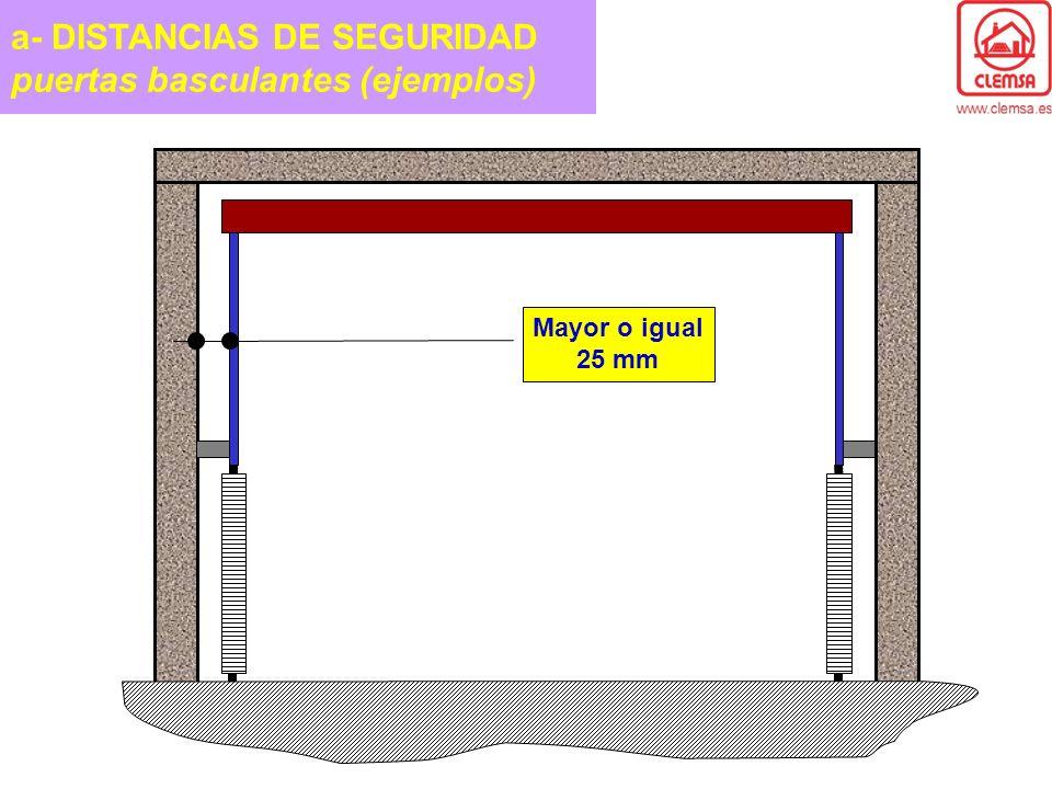 a- DISTANCIAS DE SEGURIDAD puertas basculantes (ejemplos) Mayor o igual 25 mm