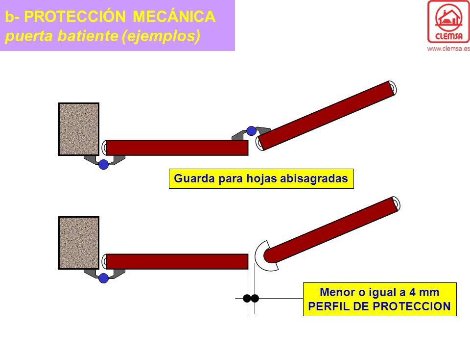 Guarda para hojas abisagradas Menor o igual a 4 mm PERFIL DE PROTECCION b- PROTECCIÓN MECÁNICA puerta batiente (ejemplos)
