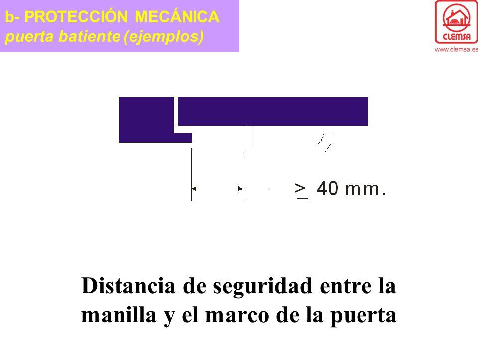 Distancia de seguridad entre la manilla y el marco de la puerta b- PROTECCIÓN MECÁNICA puerta batiente (ejemplos)
