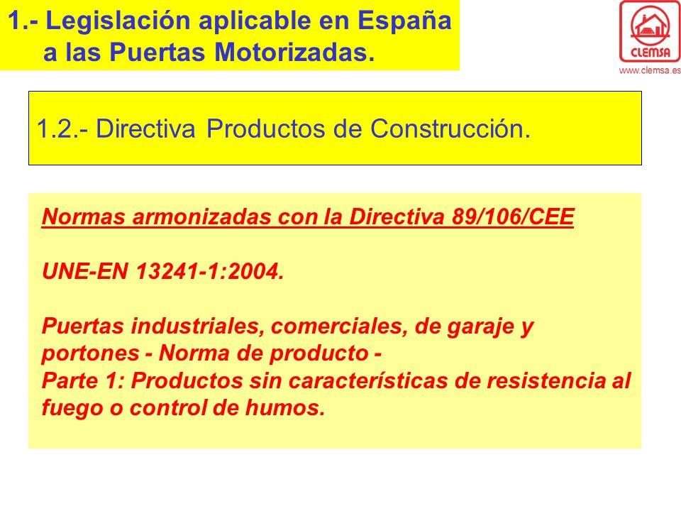 Normas armonizadas con la Directiva 89/106/CEE UNE-EN 13241-1:2004. Puertas industriales, comerciales, de garaje y portones - Norma de producto - Part