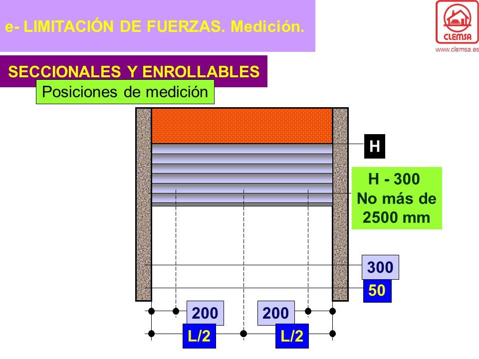 SECCIONALES Y ENROLLABLES 200 L/2 50 H - 300 No más de 2500 mm 300 H Posiciones de medición e- LIMITACIÓN DE FUERZAS. Medición.