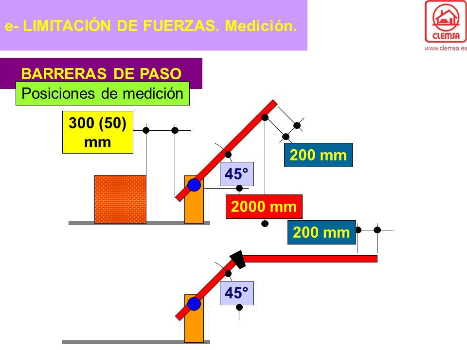 BARRERAS DE PASO Posiciones de medición 45° 2000 mm 200 mm 300 (50) mm 45° 200 mm e- LIMITACIÓN DE FUERZAS. Medición.