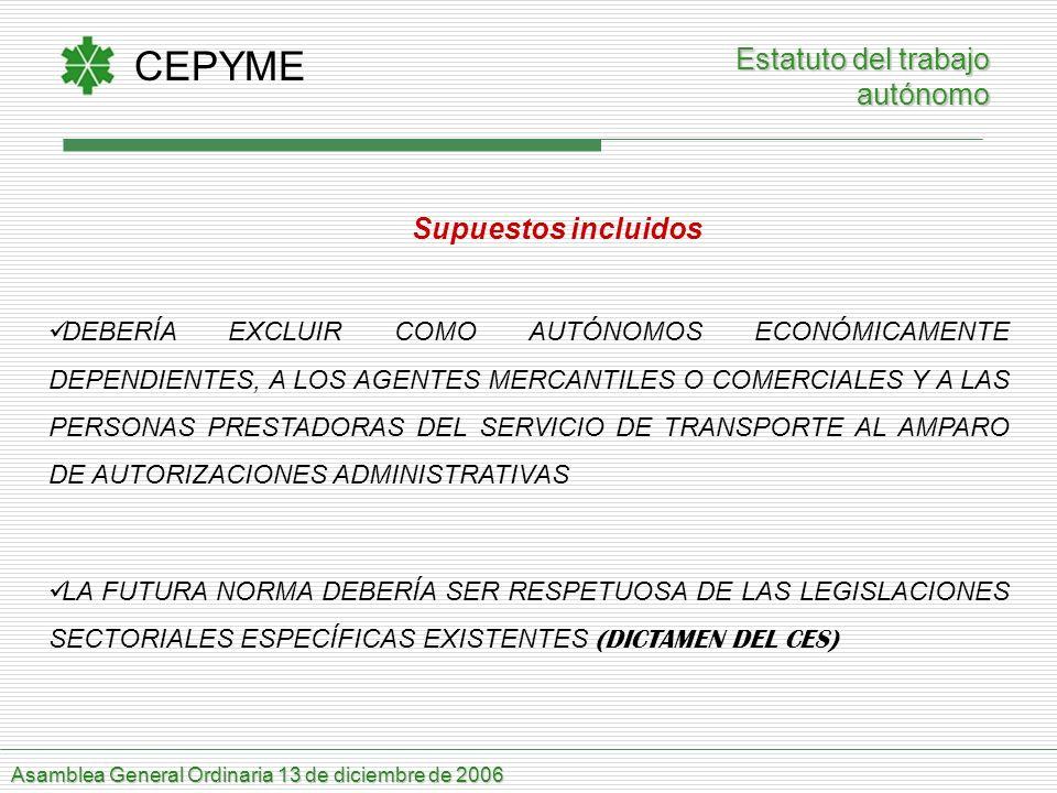 CEPYME Asamblea General Ordinaria 13 de diciembre de 2006 Supuestos incluidos DEBERÍA EXCLUIR COMO AUTÓNOMOS ECONÓMICAMENTE DEPENDIENTES, A LOS AGENTE