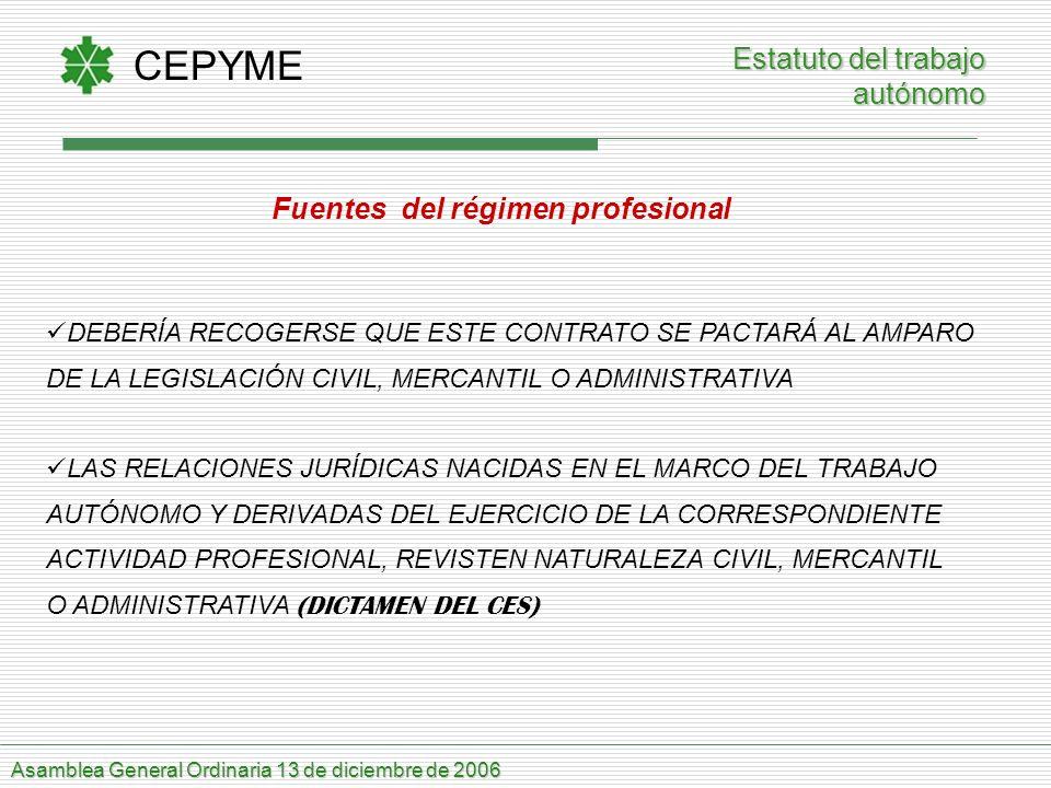 CEPYME Asamblea General Ordinaria 13 de diciembre de 2006 Estatuto del trabajo autónomo Fuentes del régimen profesional DEBERÍA RECOGERSE QUE ESTE CON