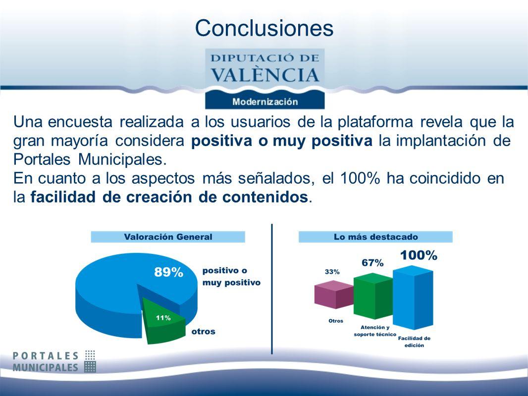 Una encuesta realizada a los usuarios de la plataforma revela que la gran mayoría considera positiva o muy positiva la implantación de Portales Munici