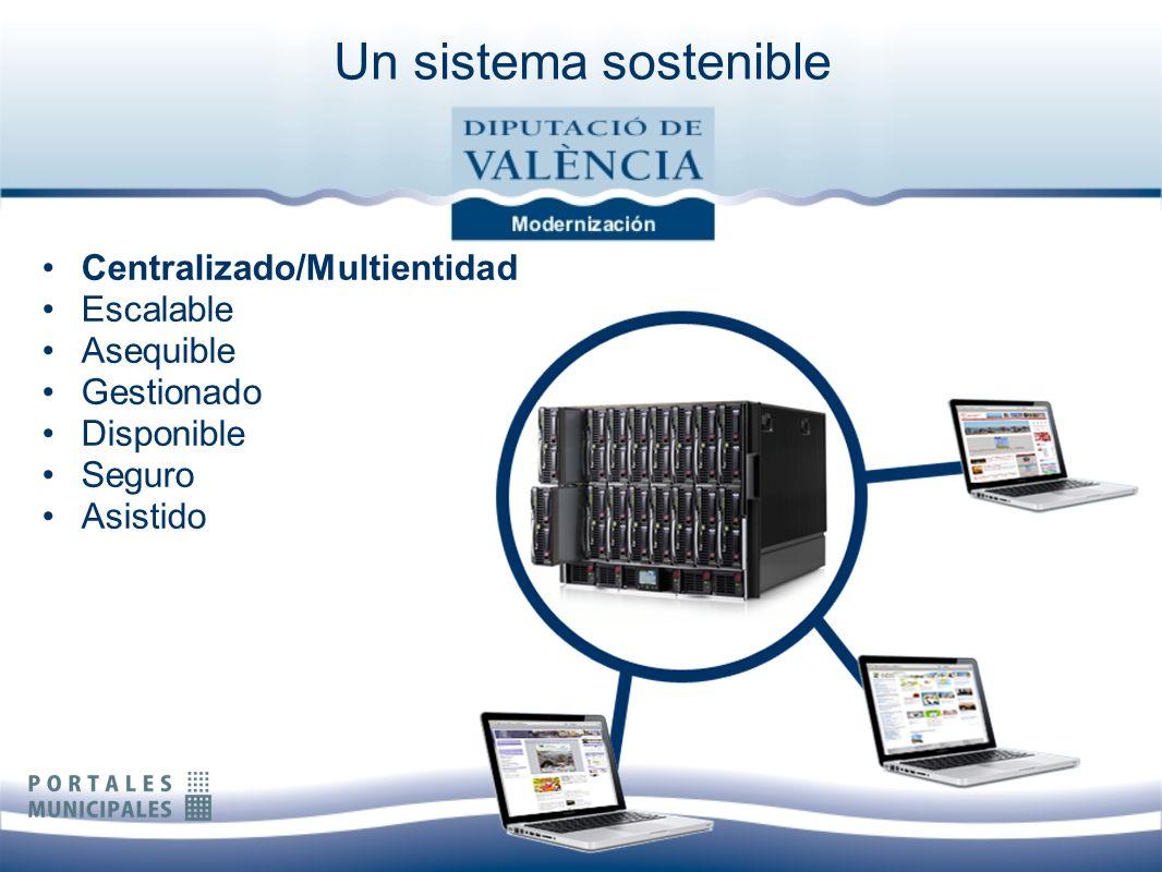 Centralizado/Multientidad Escalable Asequible Gestionado Disponible Seguro Asistido Un sistema sostenible