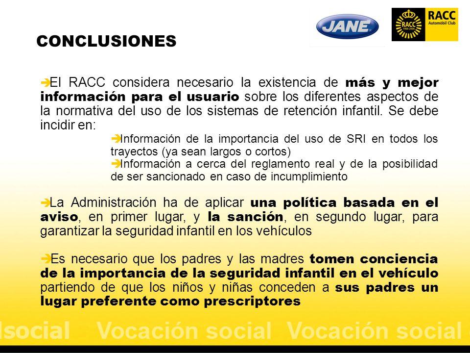 CONCLUSIONES El RACC considera necesario la existencia de más y mejor información para el usuario sobre los diferentes aspectos de la normativa del us
