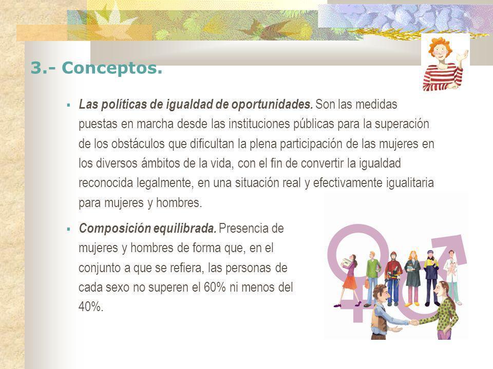 3.- Conceptos. Las políticas de igualdad de oportunidades. Son las medidas puestas en marcha desde las instituciones públicas para la superación de lo