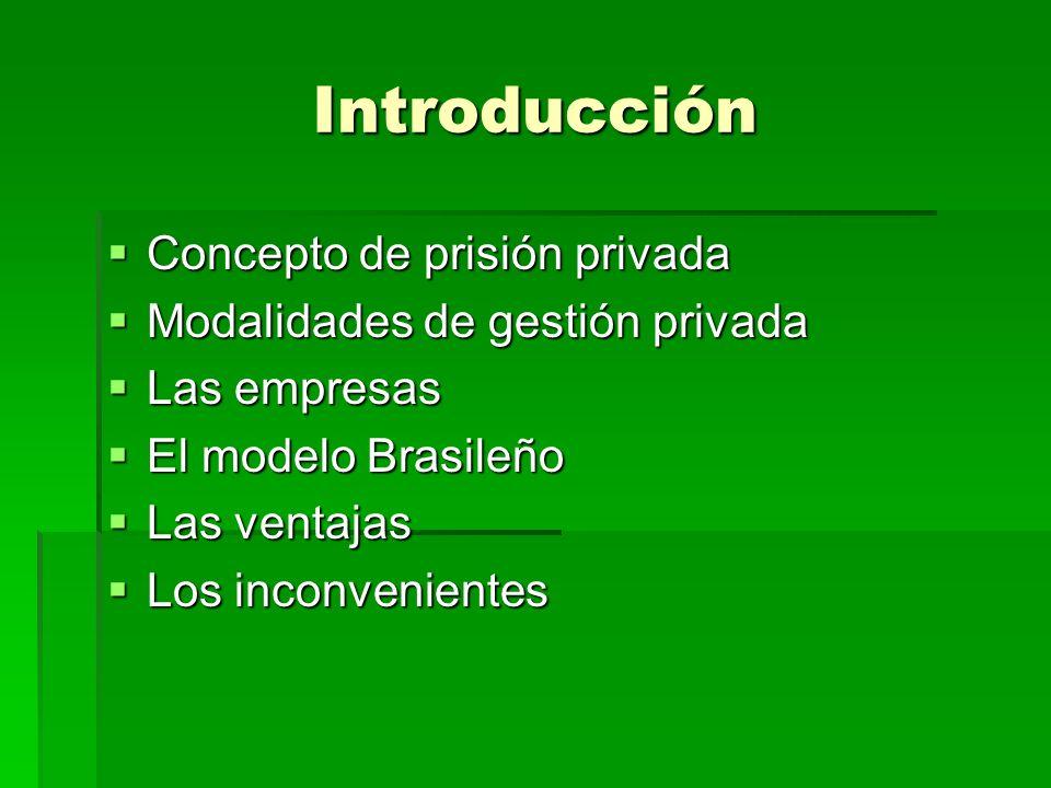 Introducción Concepto de prisión privada Concepto de prisión privada Modalidades de gestión privada Modalidades de gestión privada Las empresas Las em