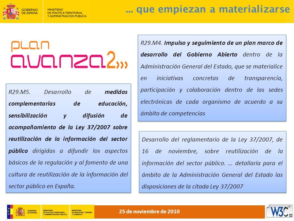 ... que empiezan a materializarse R29.M5. Desarrollo de medidas complementarias de educación, sensibilización y difusión de acompañamiento de la Ley 3
