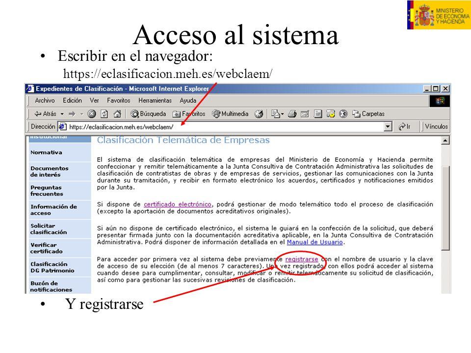 Registro Escribir todos los datos de la empresa Inventarse un usuario/contraseña ATENCIÓN: ¡usuario y contraseña son sensibles a mayúsculas.