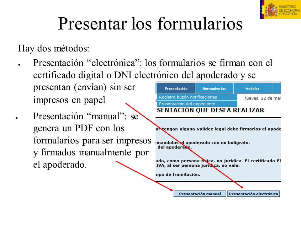 Presentar los formularios Presentación manual: se genera un PDF con los formularios para ser impresos y firmados manualmente por el apoderado. Hay dos