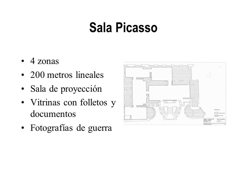 Sala Picasso 4 zonas 200 metros lineales Sala de proyección Vitrinas con folletos y documentos Fotografías de guerra