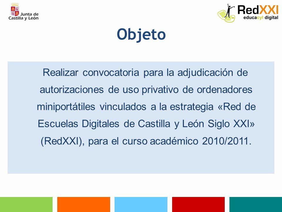 Beneficiarios Requisitos: Matriculado, durante el curso 2010/2011, en uno de los centros educativos seleccionados para la implantación de la estrategia RedXXI en el año 2010, en cualquiera de los cursos previstos para la fase de la estrategia correspondiente a ese año.