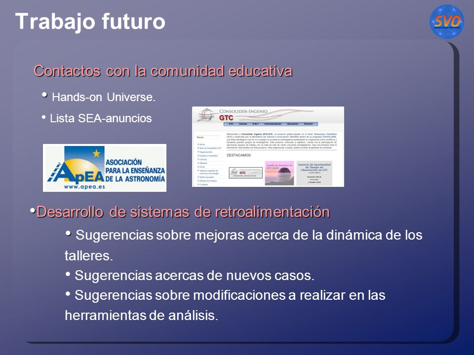 Trabajo futuro Contactos con la comunidad educativa Contactos con la comunidad educativa Hands-on Universe.