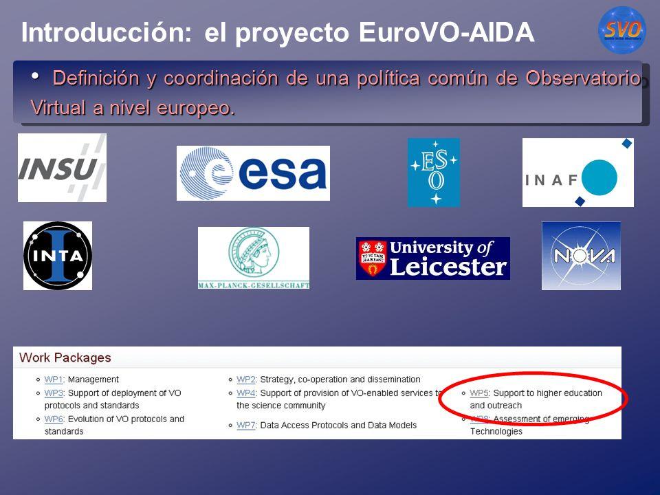 Introducción: el proyecto EuroVO-AIDA Definición y coordinación de una política común de Observatorio Virtual a nivel europeo.