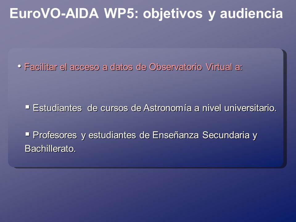 EuroVO-AIDA WP5: objetivos y audiencia Facilitar el acceso a datos de Observatorio Virtual a: Facilitar el acceso a datos de Observatorio Virtual a: Estudiantes de cursos de Astronomía a nivel universitario.