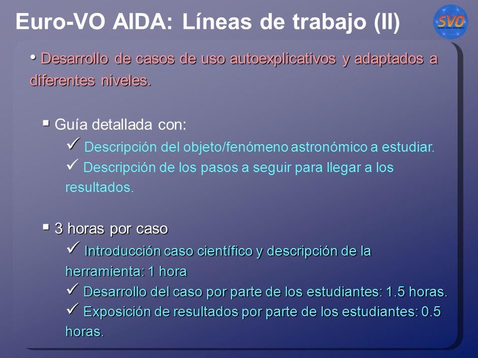 Euro-VO AIDA: Líneas de trabajo (II) Desarrollo de casos de uso autoexplicativos y adaptados a diferentes niveles.