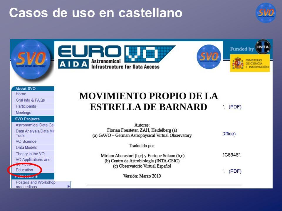 Casos de uso en castellano http://svo.cab.inta-csic.es