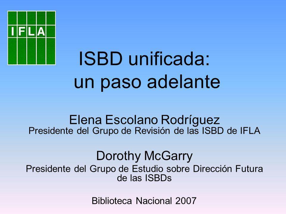 Concepto de ISBD 1969 Promovido por la automatización del control bibliográfico y la necesidad económica de compartir la catalogación ISBD es útil y aplicable a cualquier tipo de catálogo, ya sea OPAC o menos avanzado Objetivo fundamental: ofrecer coherencia al compartir la catalogación