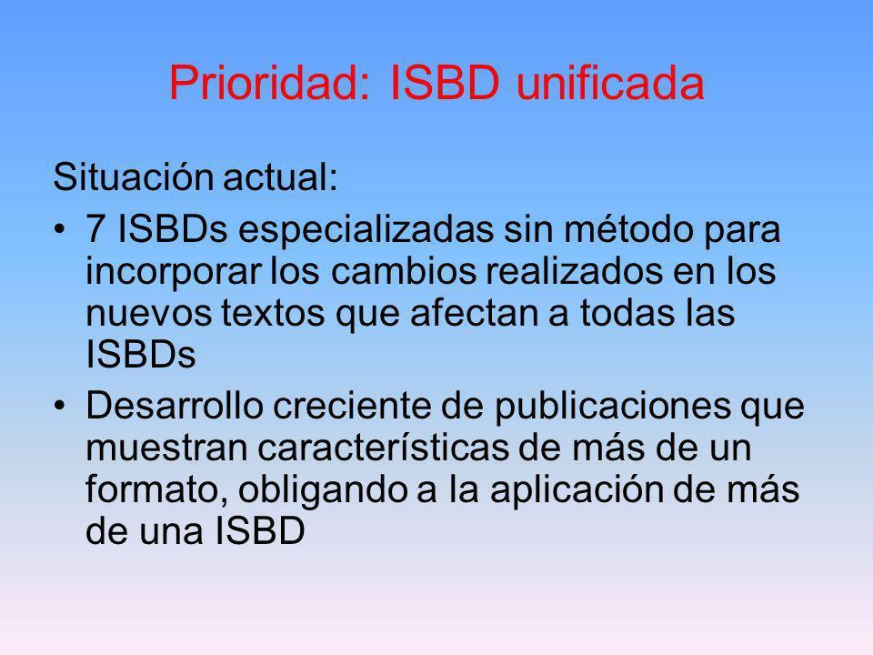 Grupo de Estudio sobre la Dirección Futura de las ISBDs Dorothy McGarry, presidente Objetivos: 1.ISBD integral, actualizada, que satisfaga las necesidades de catalogadores y otros usuarios de la información bibliográfica 2.