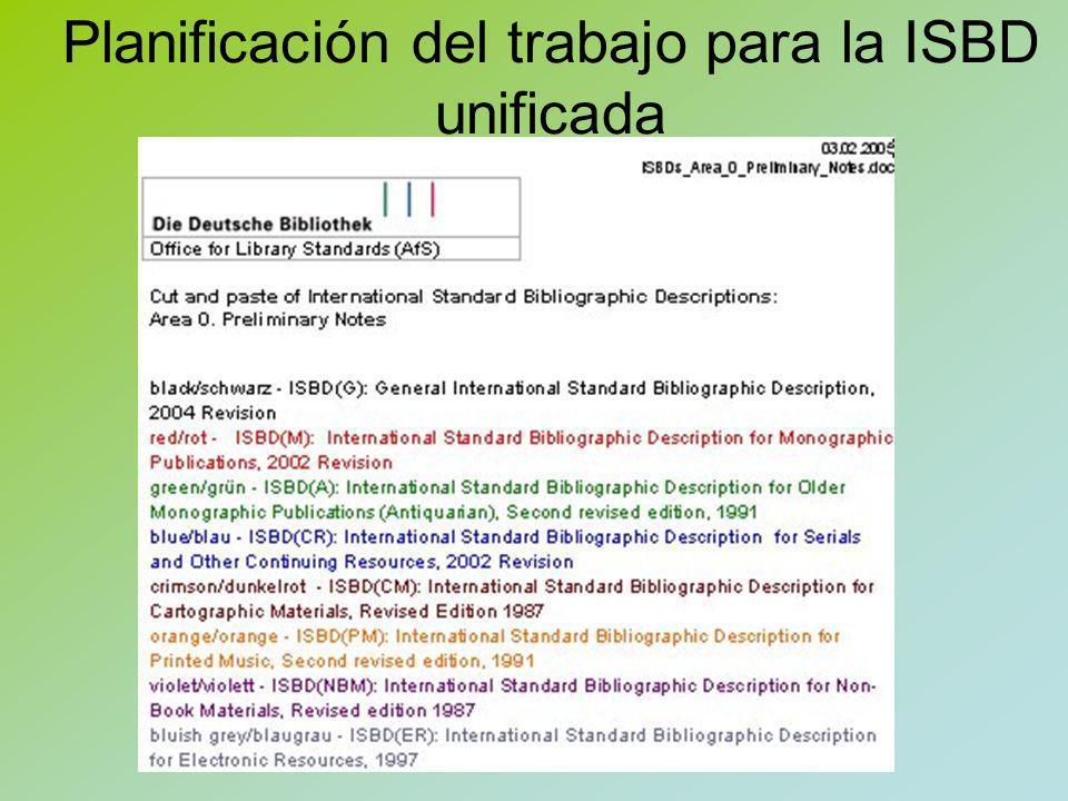 Planificación del trabajo para la ISBD unificada