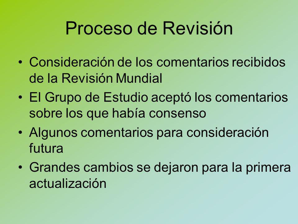 Proceso de Revisión Para actualizar el texto de las ISBDS publicadas se utilizaron los textos posteriores a la votación del Comité Permanente de la Sección de Catalogación en el caso de la ISBD(ER) y los textos posteriores a las revisiones mundiales en el caso de la ISBD(CM) e ISBD(A)