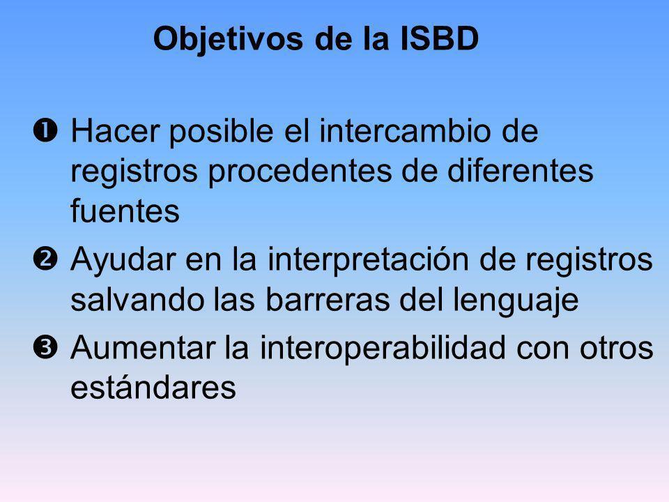 Utilización en todo el mundo Estándares para la representación de la información bibliográfica de todo tipo de recursos bibliotecarios Traducidas a 25 lenguas Sirven de guía para el trabajo de los comités nacionales e internacionales de catalogación
