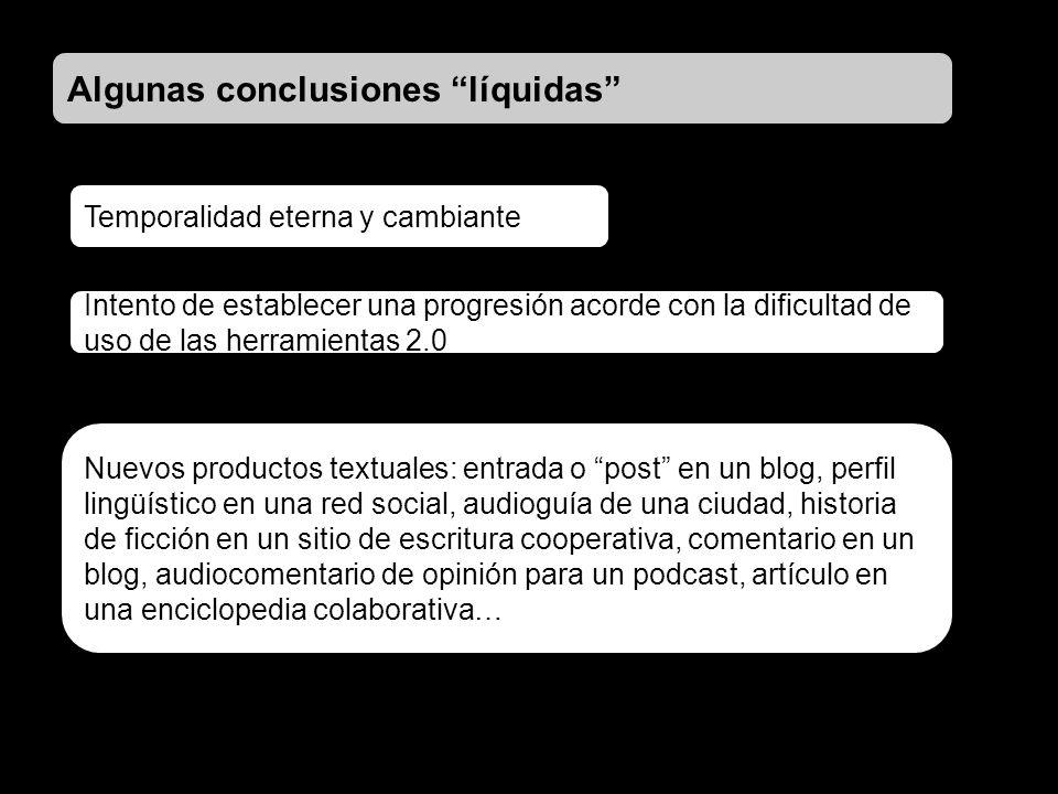 Algunas conclusiones líquidas Nuevos productos textuales: entrada o post en un blog, perfil lingüístico en una red social, audioguía de una ciudad, hi