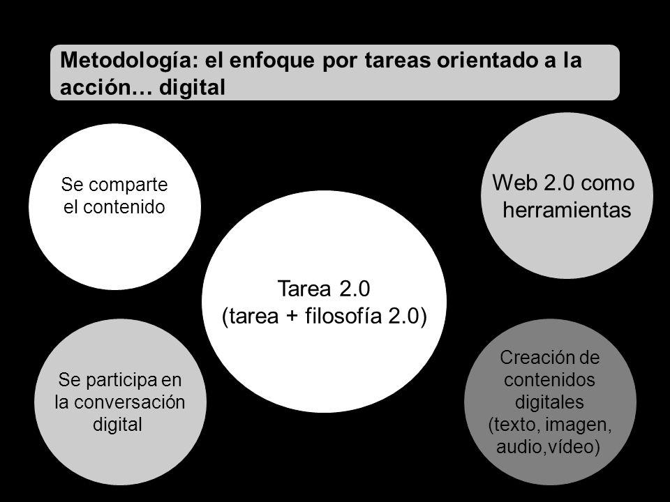 Tarea 2.0 (tarea + filosofía 2.0) Web 2.0 como herramientas Creación de contenidos digitales (texto, imagen, audio,vídeo) Se comparte el contenido Se