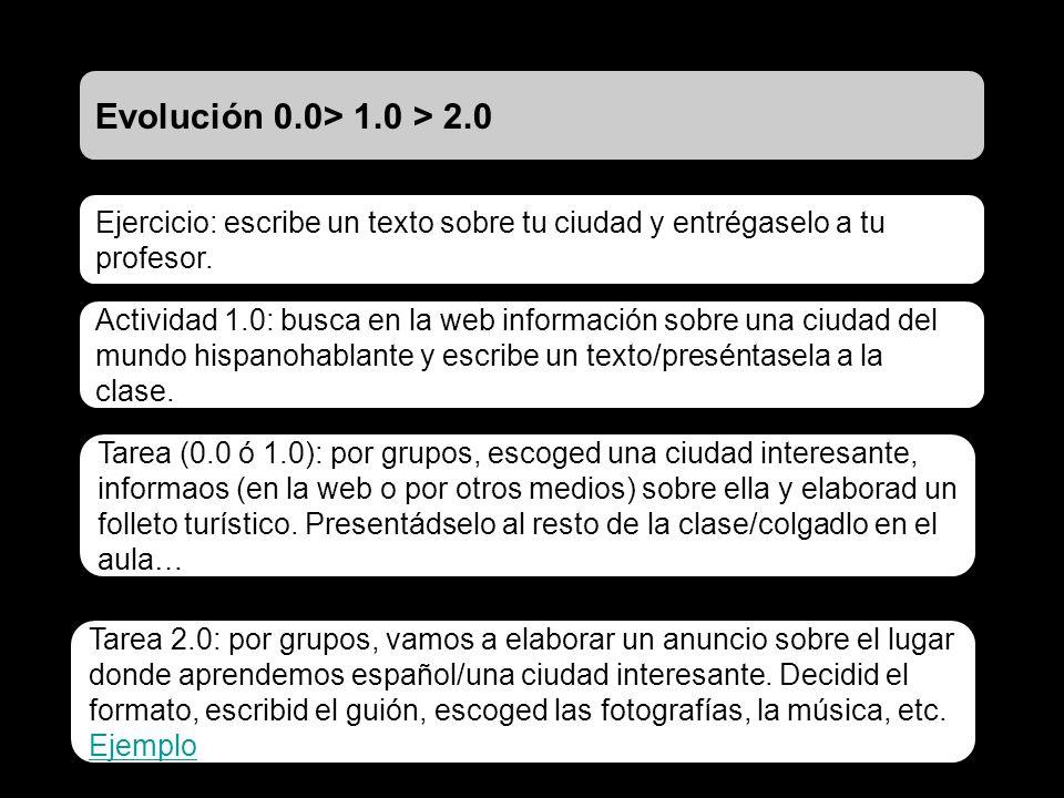 Evolución 0.0> 1.0 > 2.0 Ejercicio: escribe un texto sobre tu ciudad y entrégaselo a tu profesor. Actividad 1.0: busca en la web información sobre una