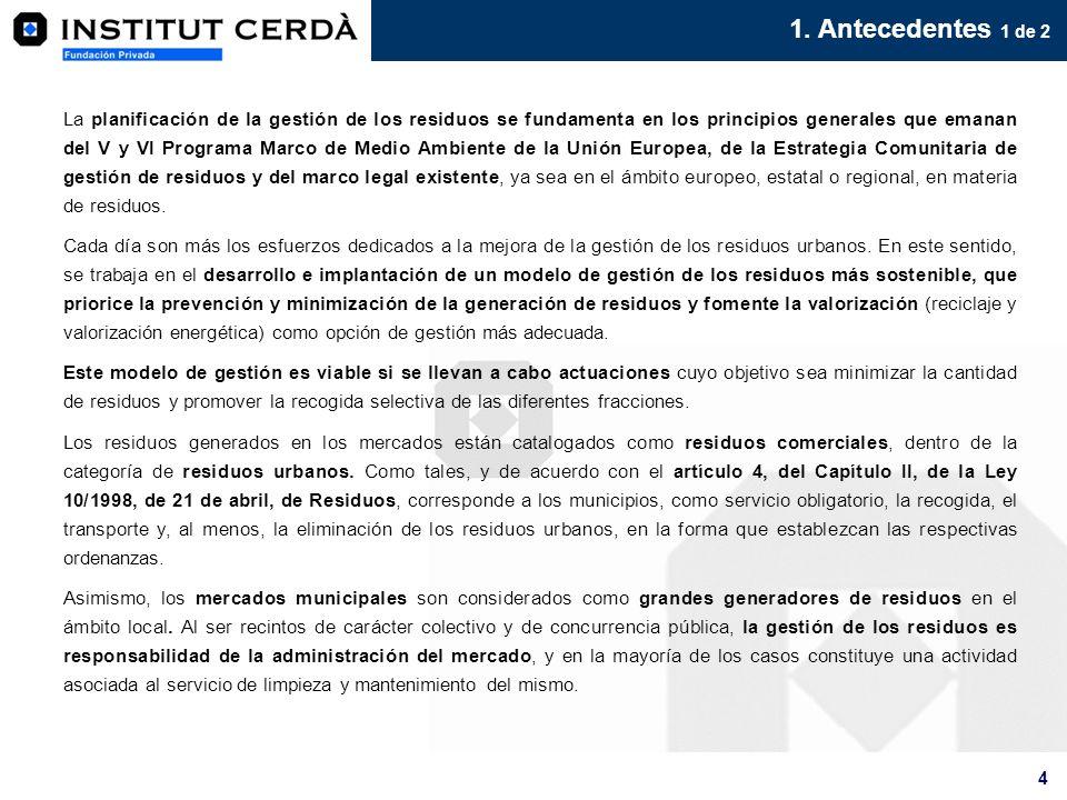4 1. Antecedentes 1 de 2 La planificación de la gestión de los residuos se fundamenta en los principios generales que emanan del V y VI Programa Marco