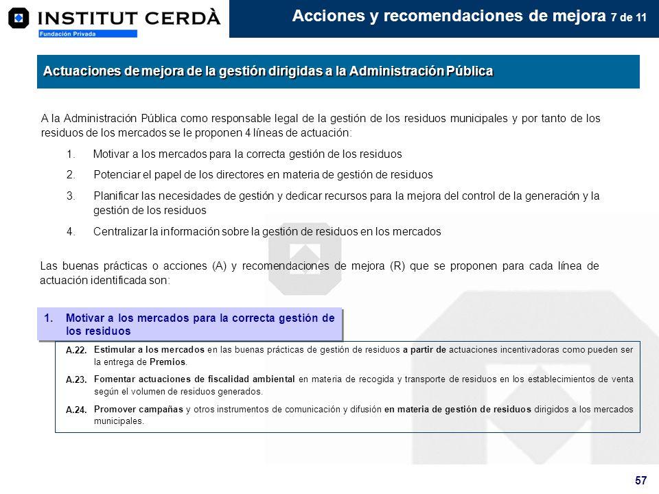 57 Acciones y recomendaciones de mejora 7 de 11 A la Administración Pública como responsable legal de la gestión de los residuos municipales y por tan