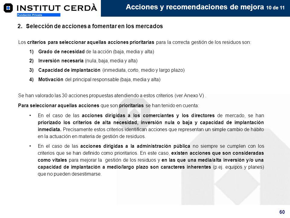 60 2.Selección de acciones a fomentar en los mercados Acciones y recomendaciones de mejora 10 de 11 Los criterios para seleccionar aquellas acciones p